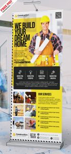 Construction Company Roll-up Banner Design PSD