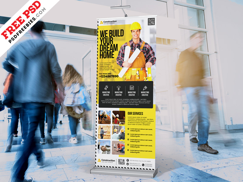 Construction Company Roll Up Banner Design PSD