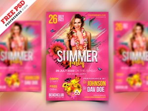 Summer Event Party Flyer Design PSD