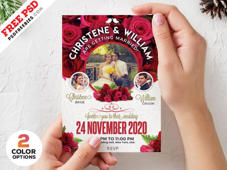 Wedding Invitation Card Template PSD Set