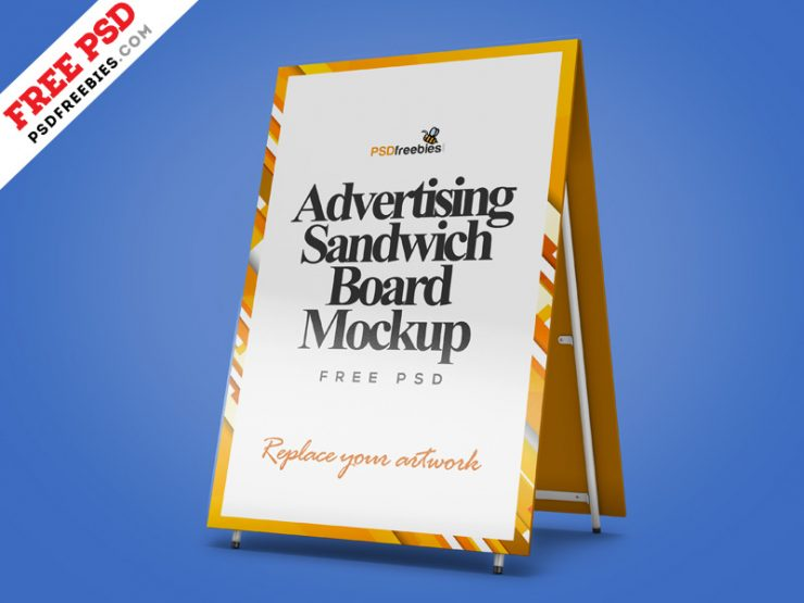 Advertising Sandwich Board Mockup PSD
