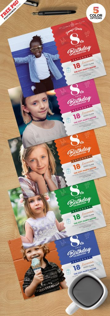 Birthday Party Invitation Template PSD Bundle