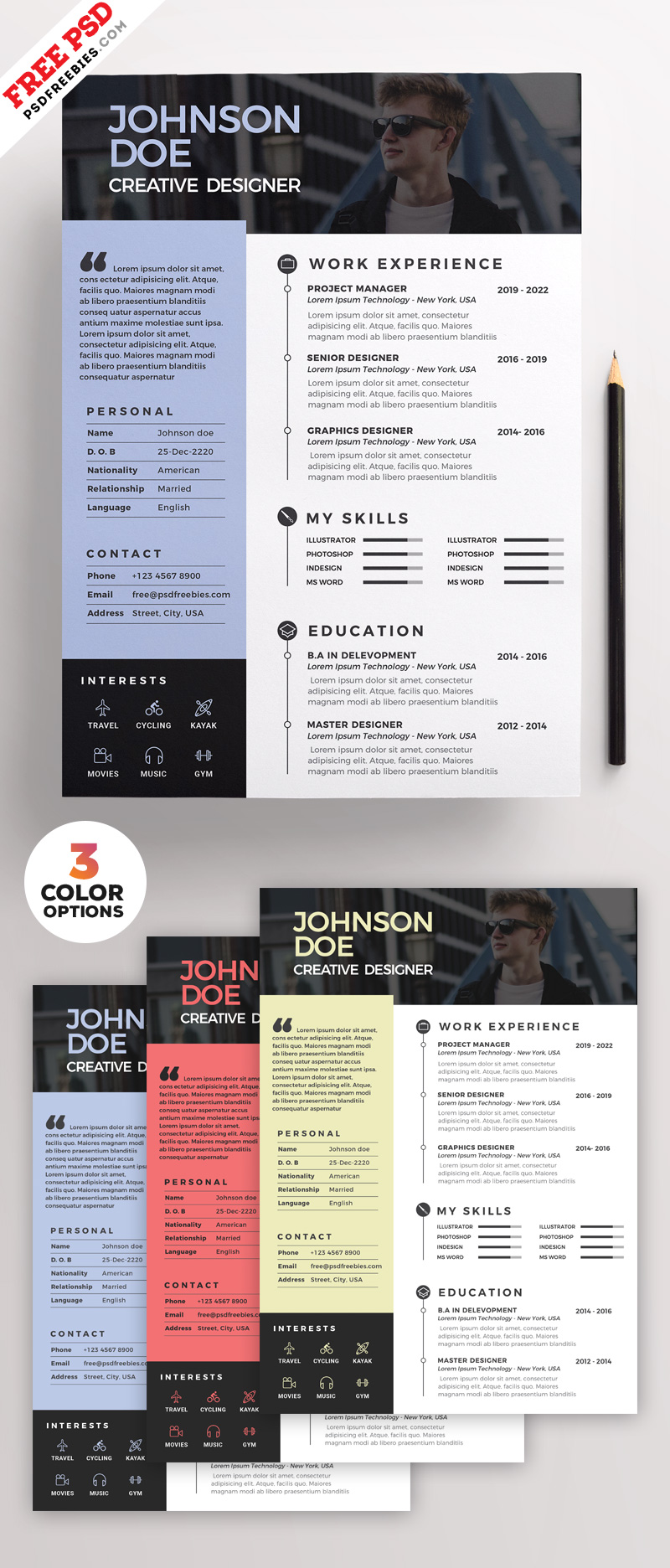 Clean Resume PSD Template Bundle
