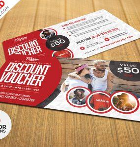 Discount Voucher Card PSD Set