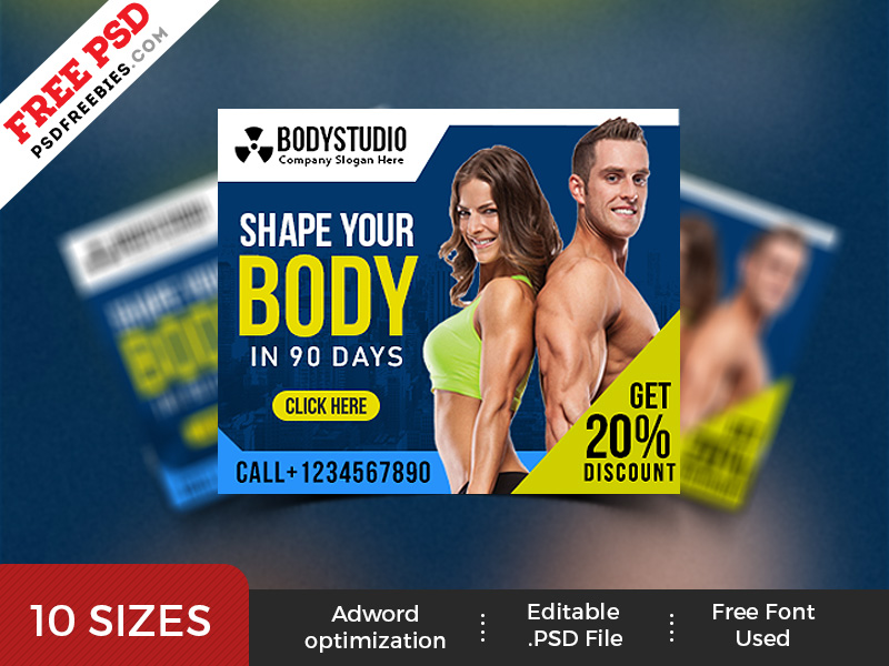 Gym Web Ad Banner Template PSD Set