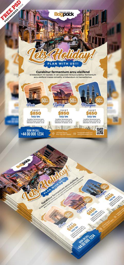 Holiday Travel Flyer Design PSD
