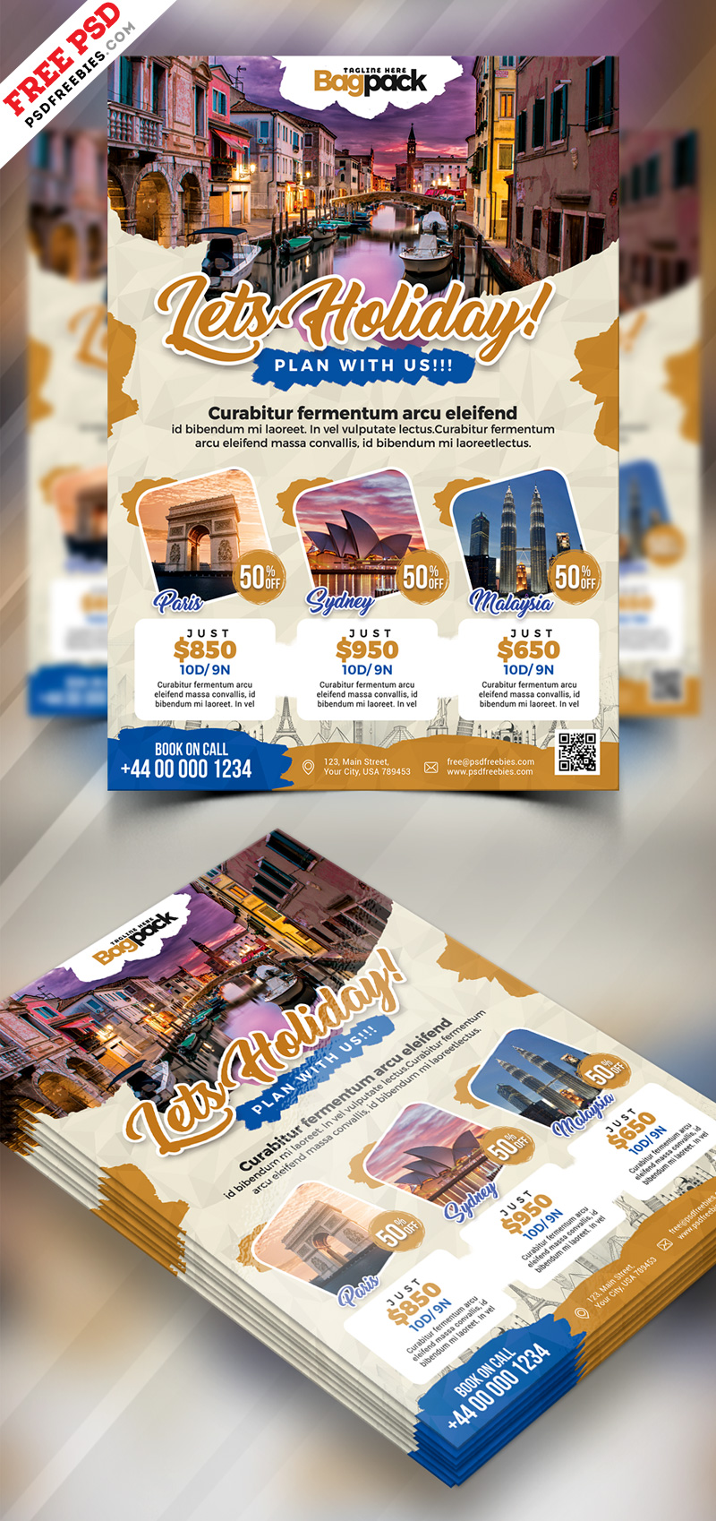 Holiday Travel Flyer Design PSD