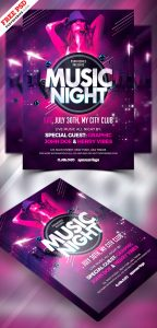Music Night Party Flyer PSD
