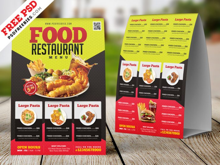 Restaurant Tent Card Design PSD