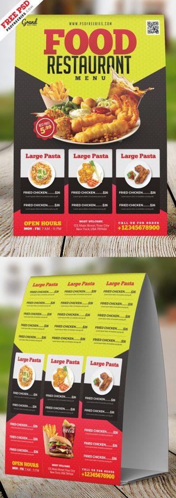 Restaurant Tent Card Design PSD