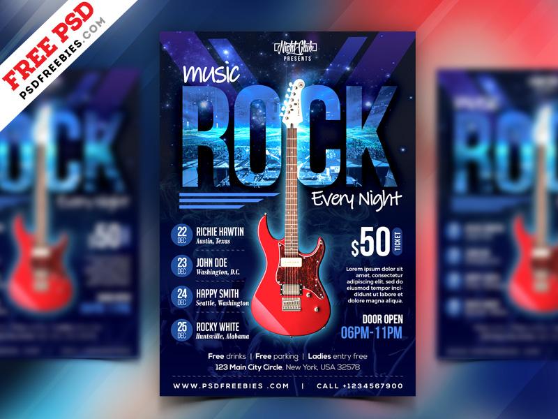 Rock Music Event Flyer PSD Template