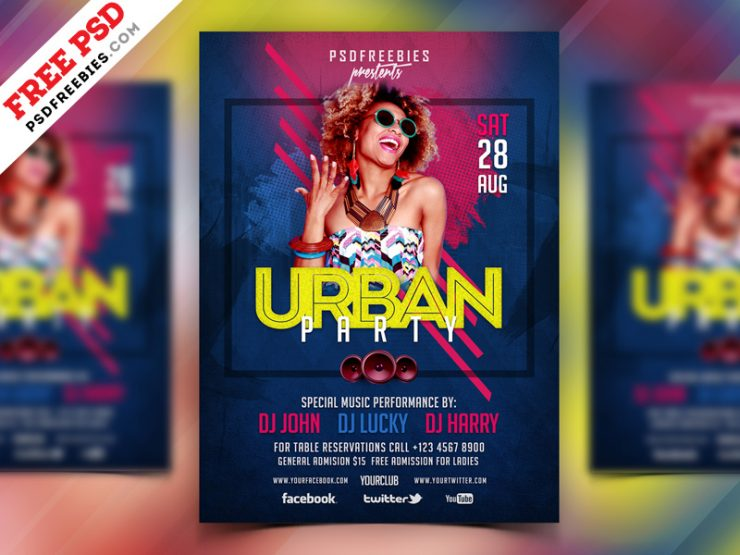 Urban Party Flyer Design PSD