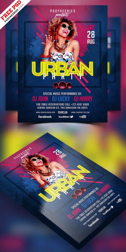 Urban Party Flyer Design PSD