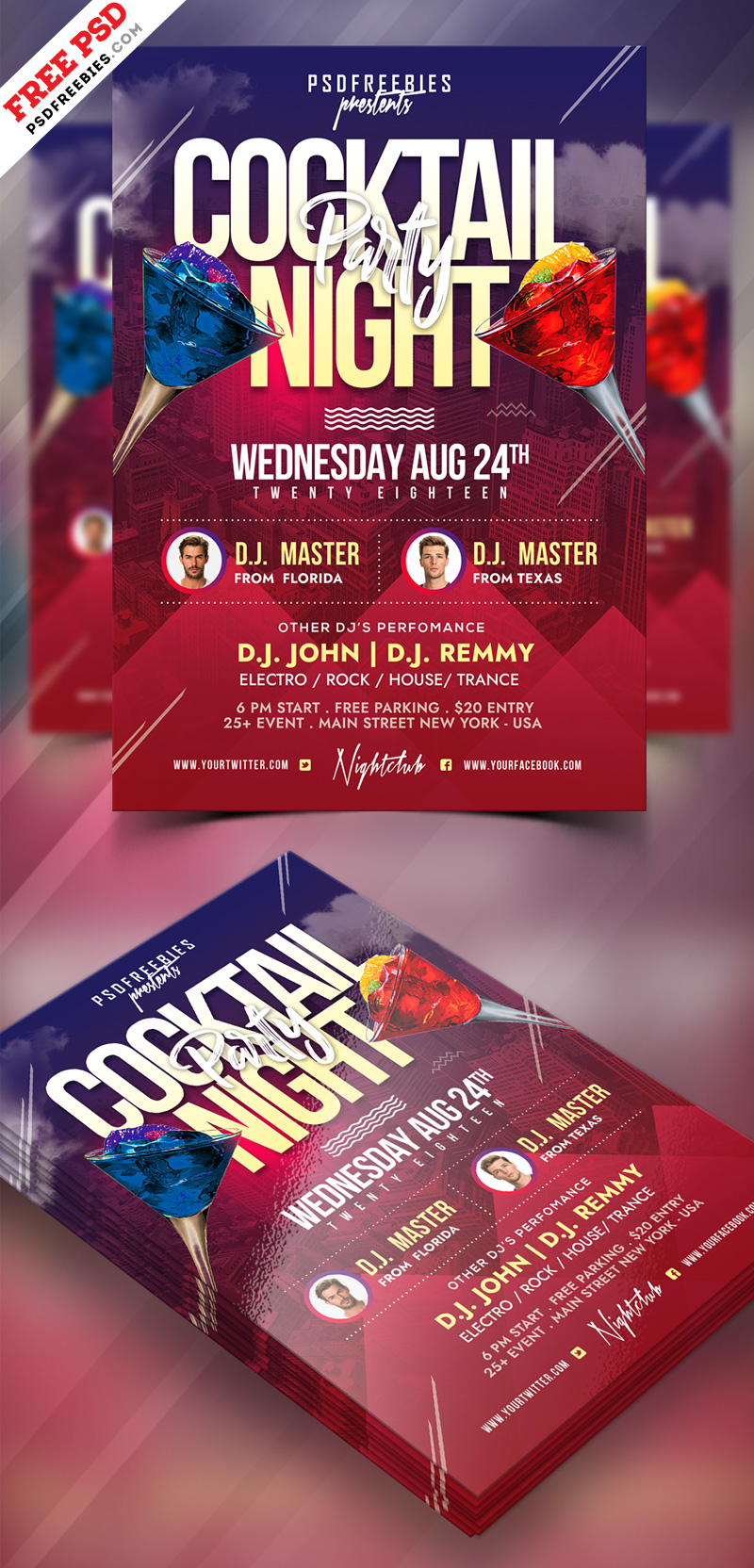 Cocktail Party Flyer PSD Template