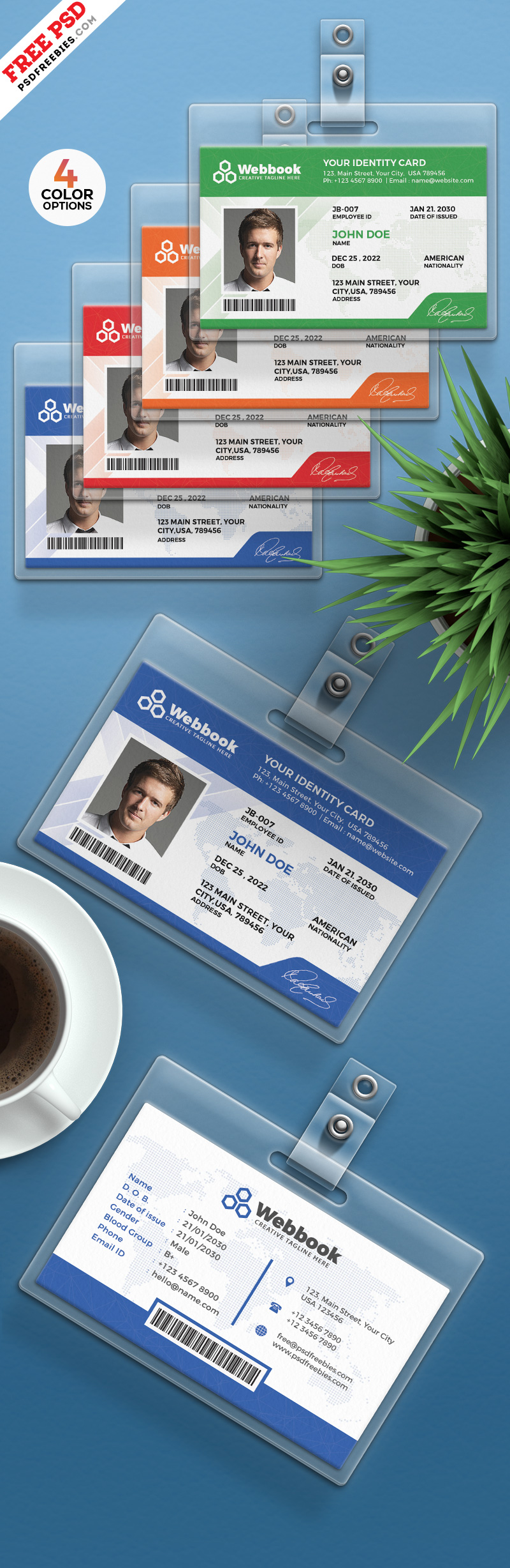 Free ID Card Template PSD Set