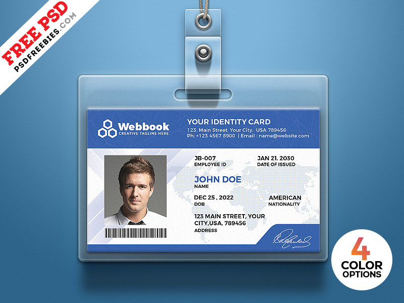 Free photo identity card psd template by psd freebies on dribbble.