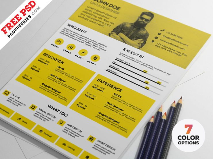 Modern Resume Design Template PSD Set
