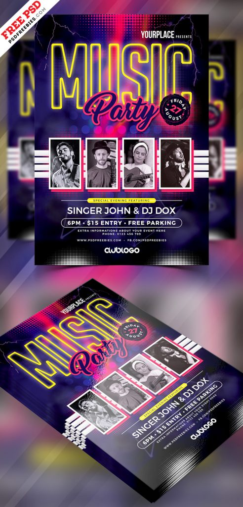 Music Party Flyer Template PSD