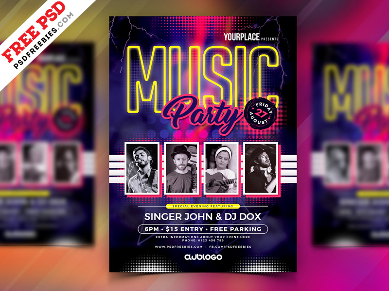 Music Party Flyer Template Psd Psdfreebies