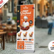 Restaurant Advertisement Roll-up Banner PSD
