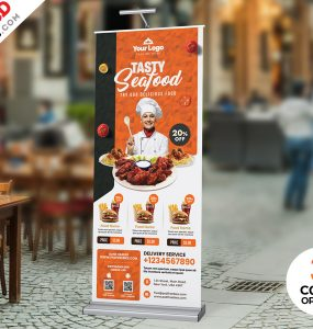 Restaurant Advertisement Roll-up Banner PSD