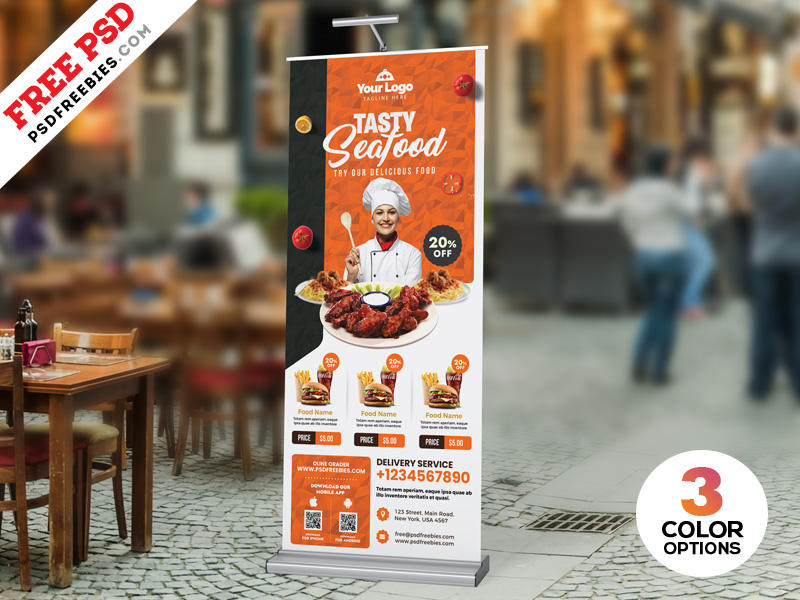 Restaurant Advertisement Roll Up Banner PSD