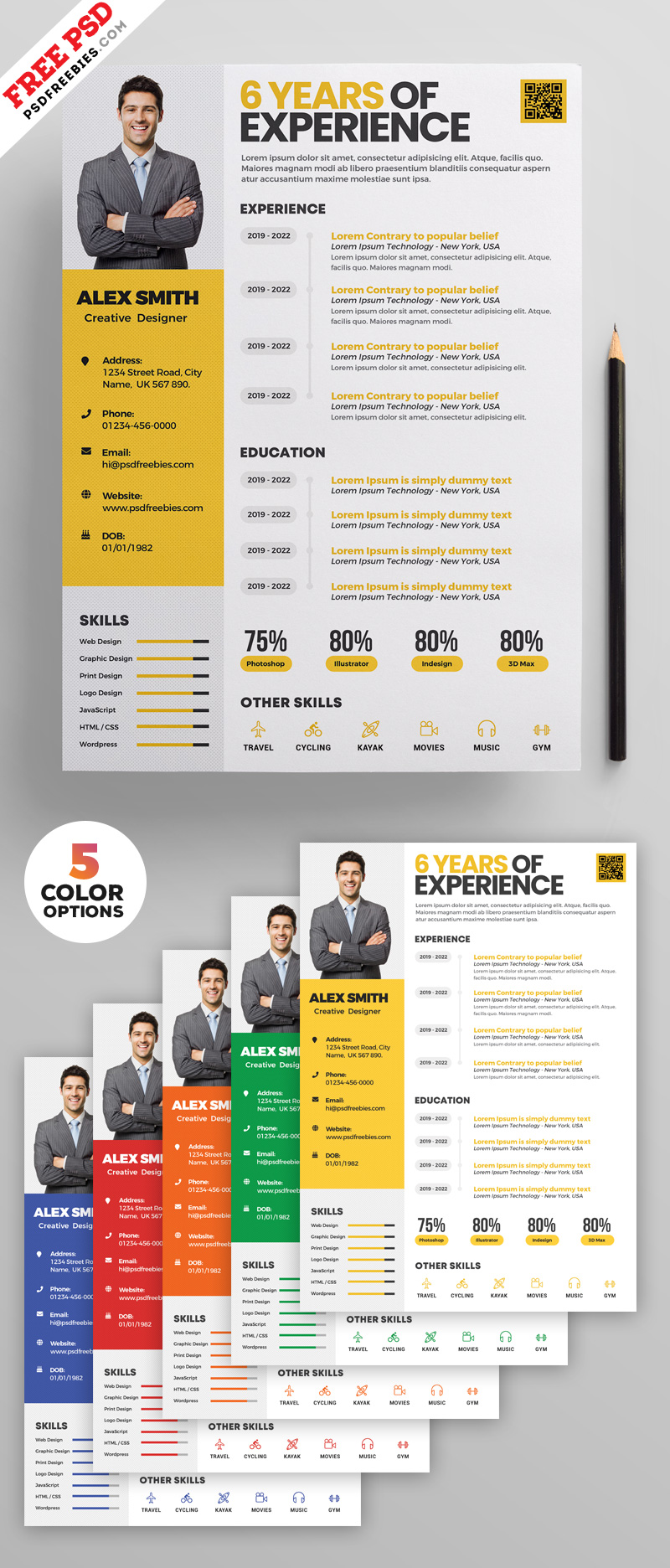 Clean Resume Design Templates PSD