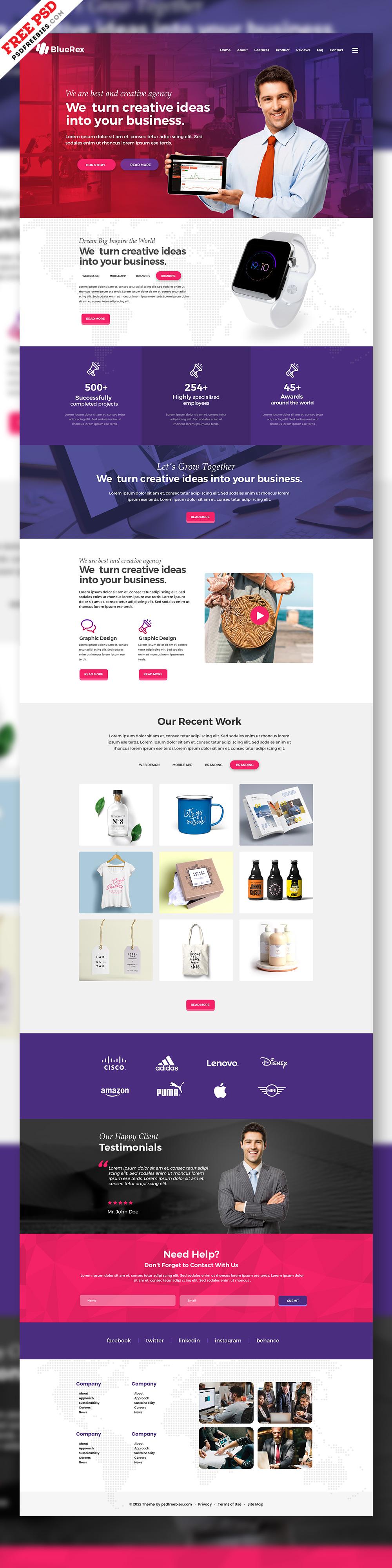 Creative Agency Web Design Free PSD