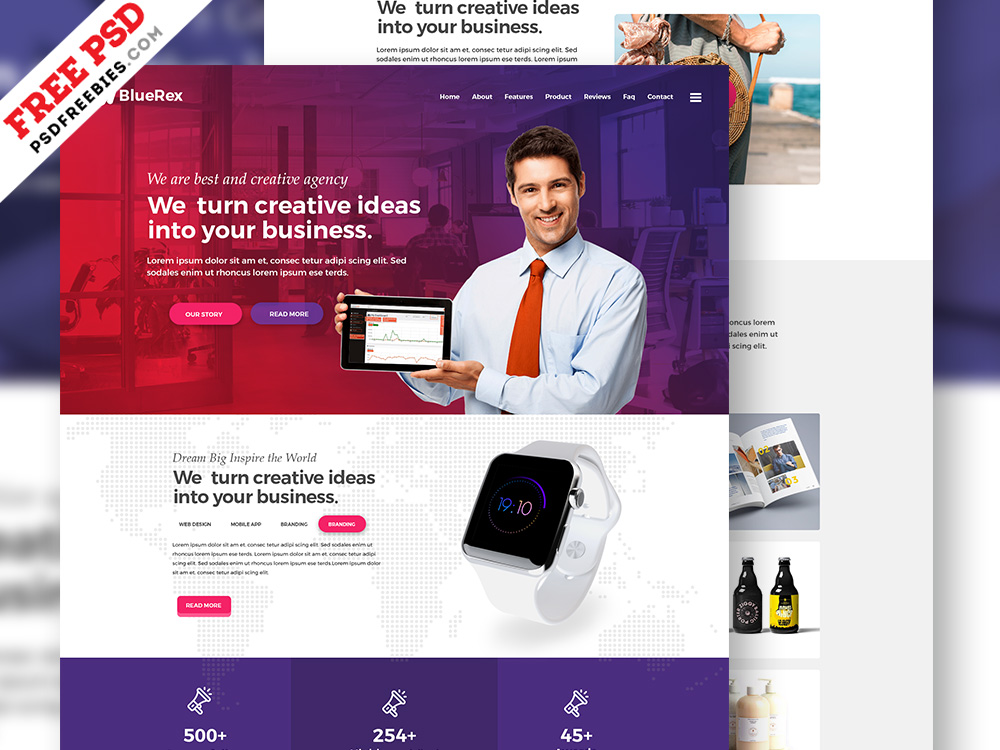 Creative Agency Web Design Free PSD