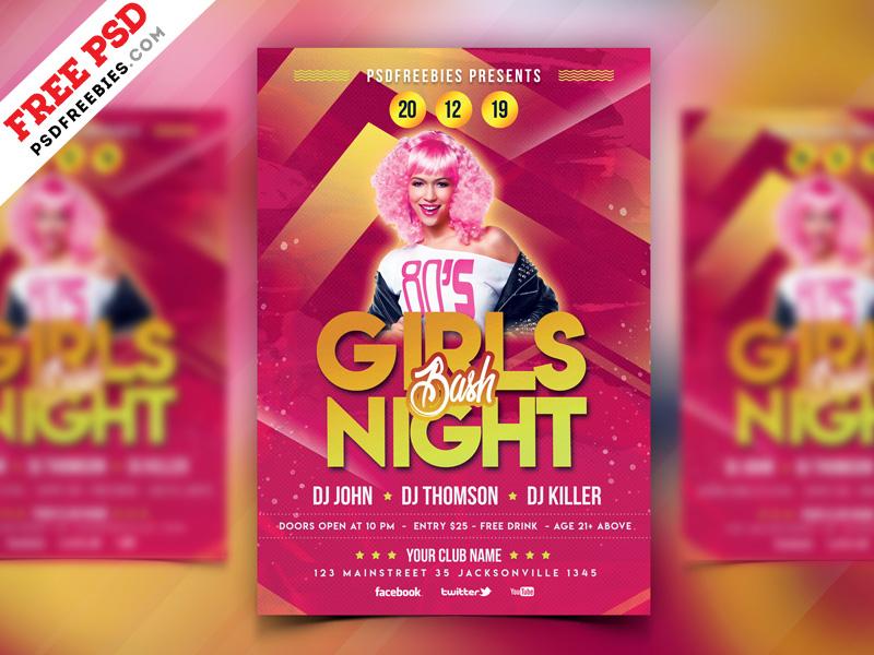 Girls Party Flyer PSD Template