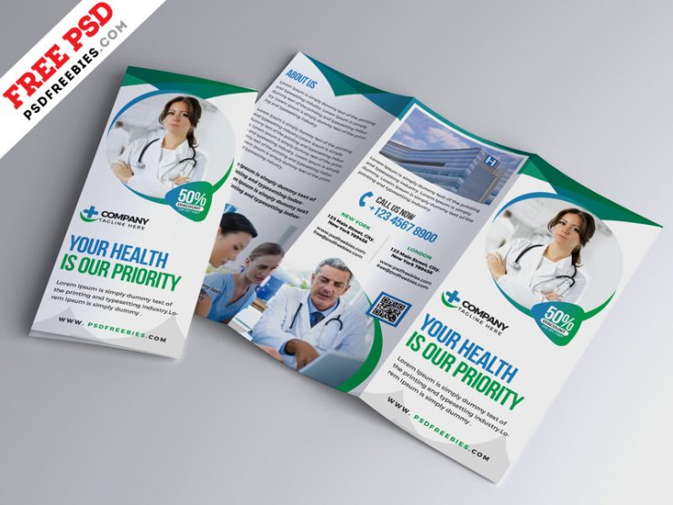 Hospital Medical Business Trifold Brochure PSD