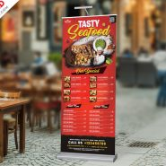 Outdoor Restaurant Food Menu Roll-up Banner PSD