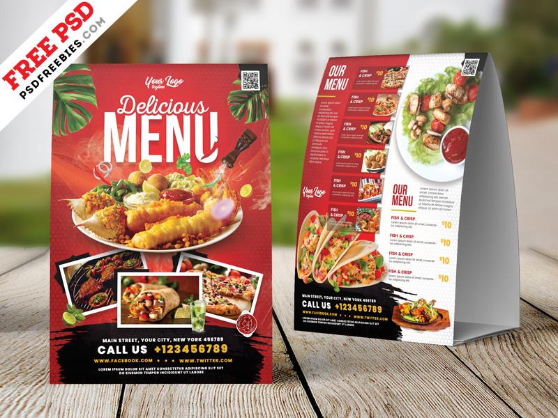 Restaurant Food Menu Table Tent PSD
