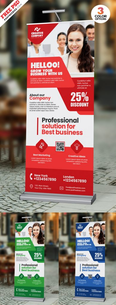 Roll-Up Banner Design PSD Template