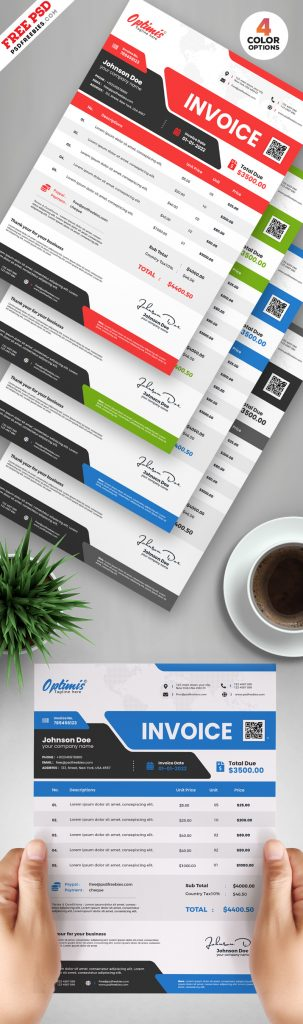 A4 Size Business Invoice Template PSD