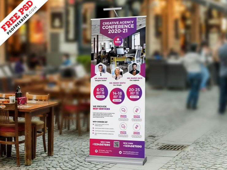 Business Conference Roll-up Banner PSD