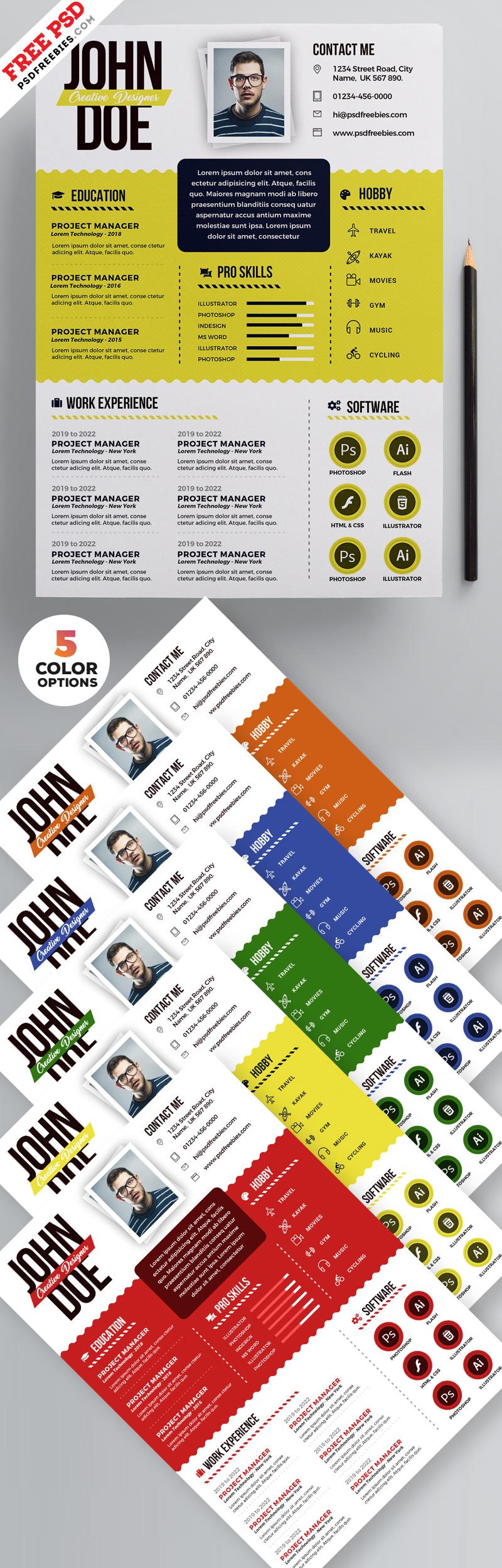 Graphic Designer Resume PSD Templates