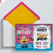 Kids Birthday Invitation Card PSD