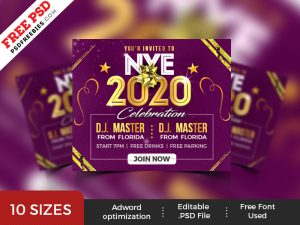 New Year Party Web Ad Banner Set PSD