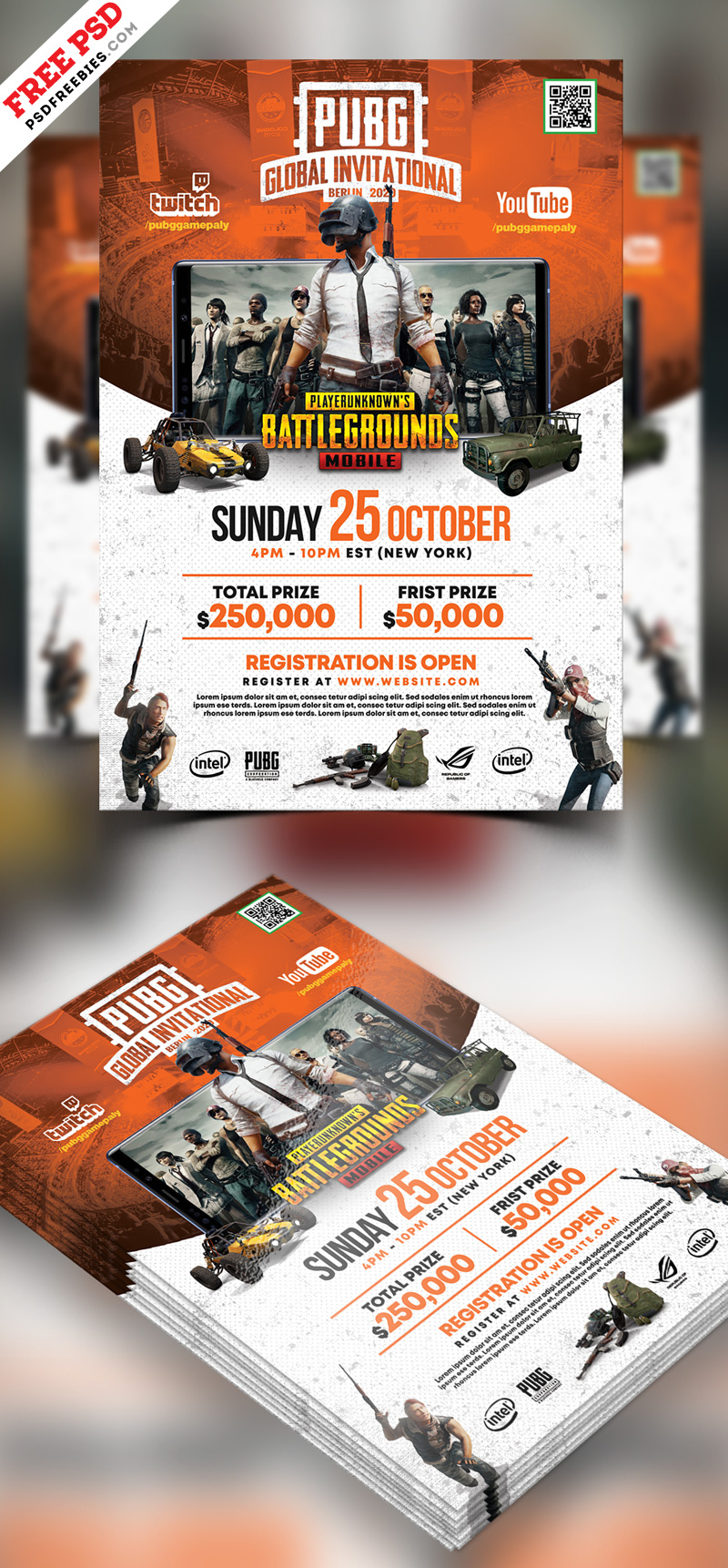 PUBG Gaming Event Flyer PSD