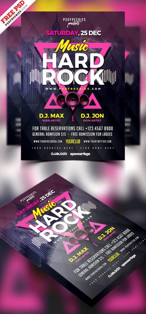 Rock Music Concert Flyer Template PSD