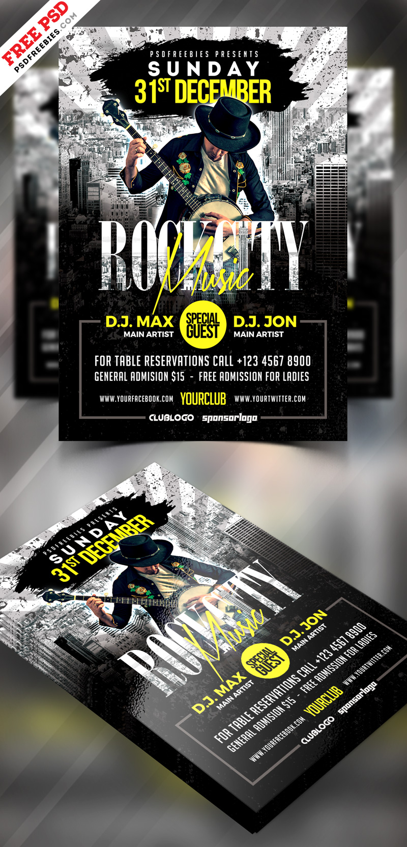 Rock Music Party Flyer PSD