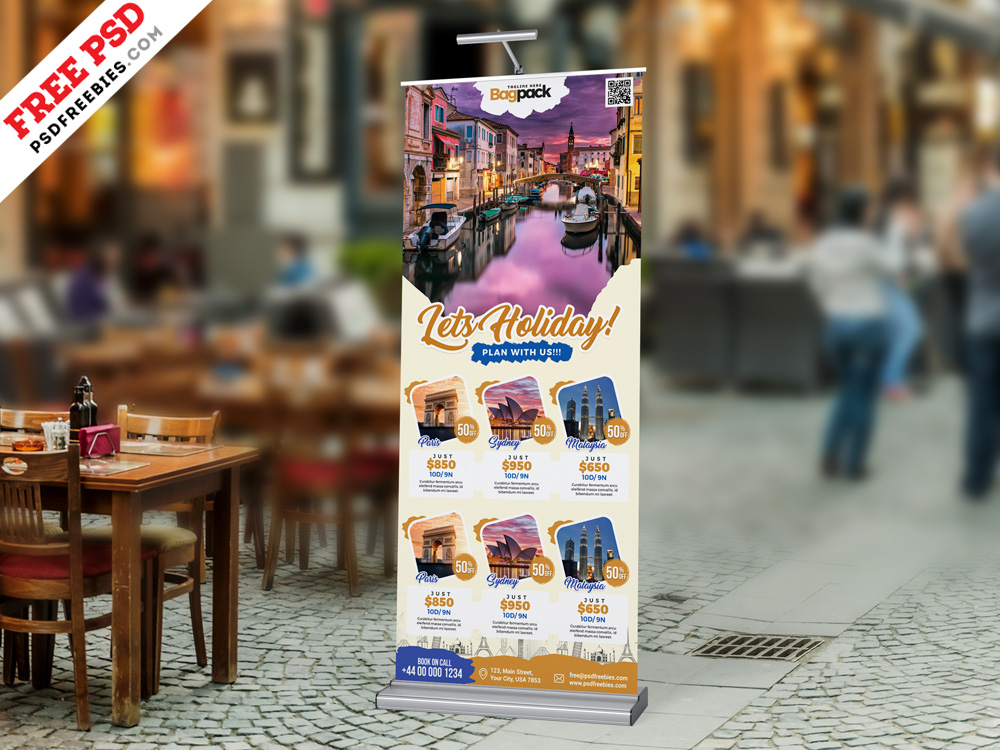 Travel Tourism Roll Up Banner PSD