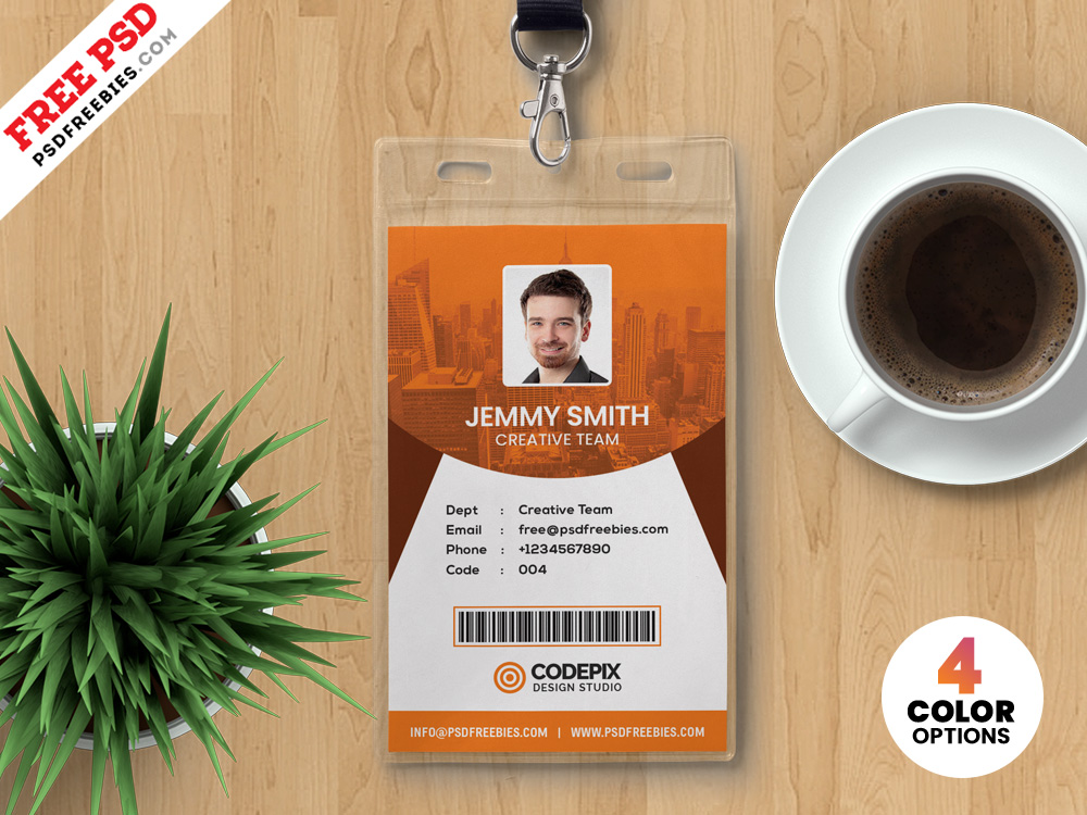 Vertical Identity Card Templates PSD | PSDFreebies.com