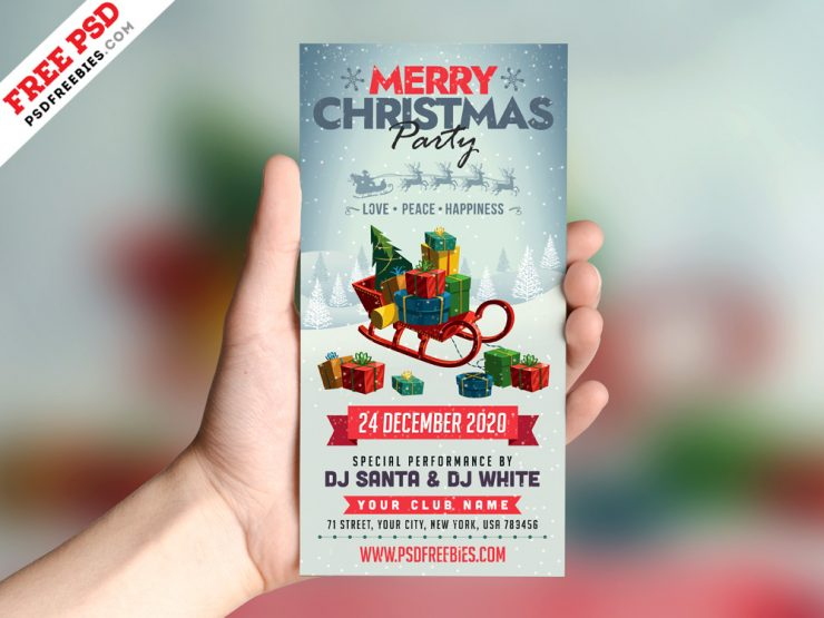Christmas Party DL Flyer Design PSD