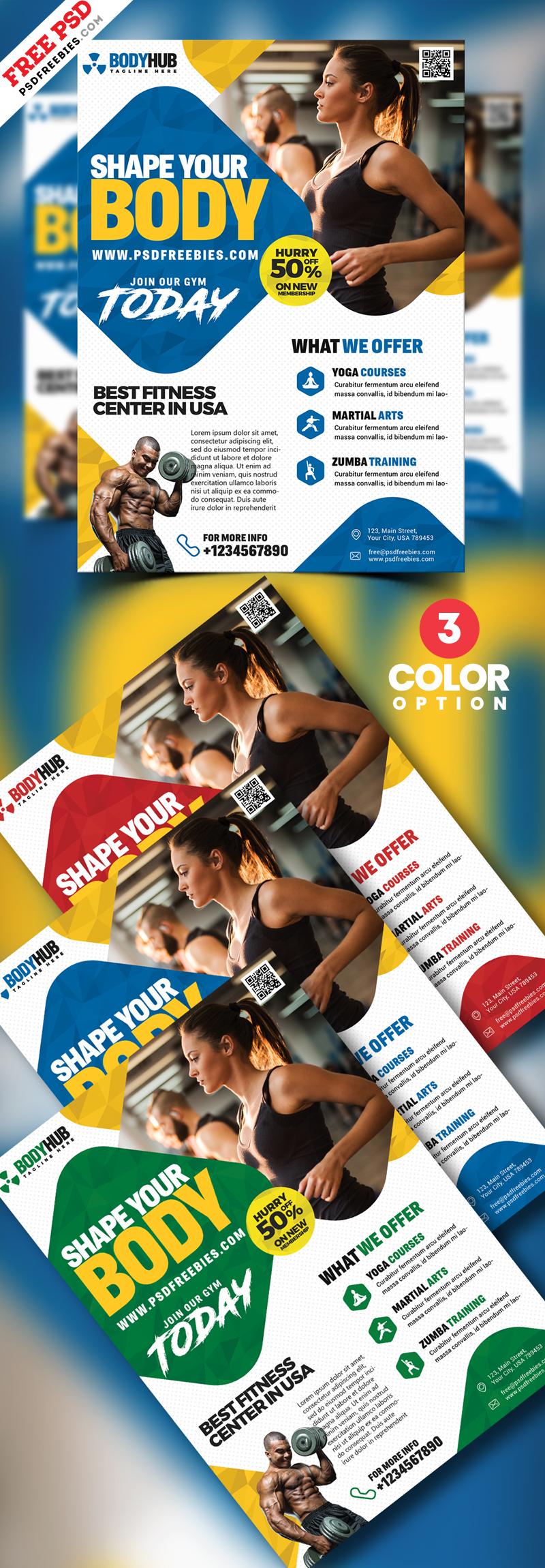 Fitness Body Studio Flyer Designs PSD