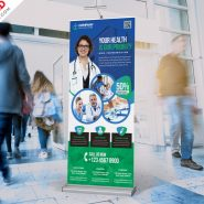 Hospital and Pharmacy Roll-up Banner PSD