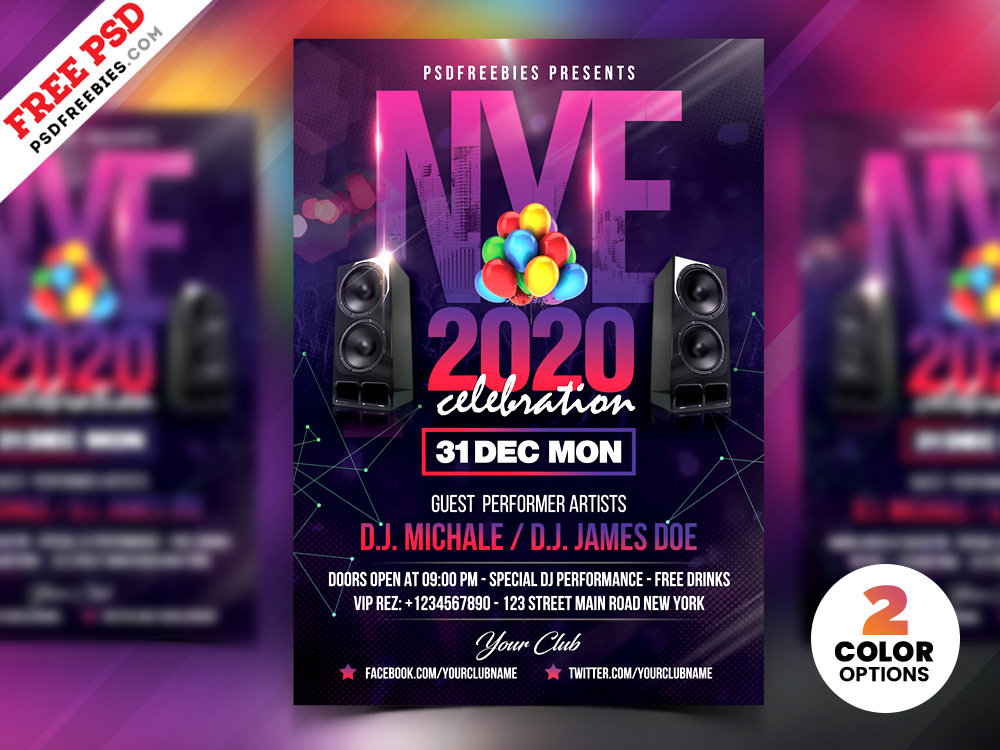 New Year Party Flyer Design PSD Template