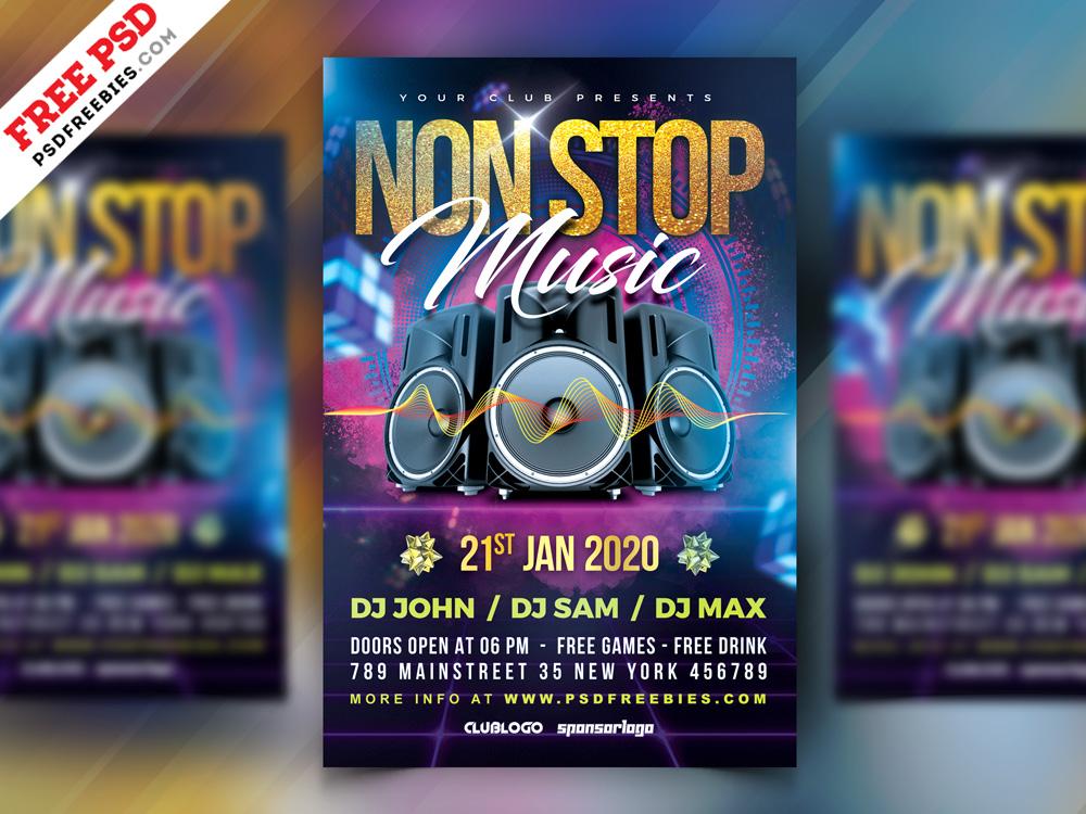 Non Stop Music Party Flyer PSD