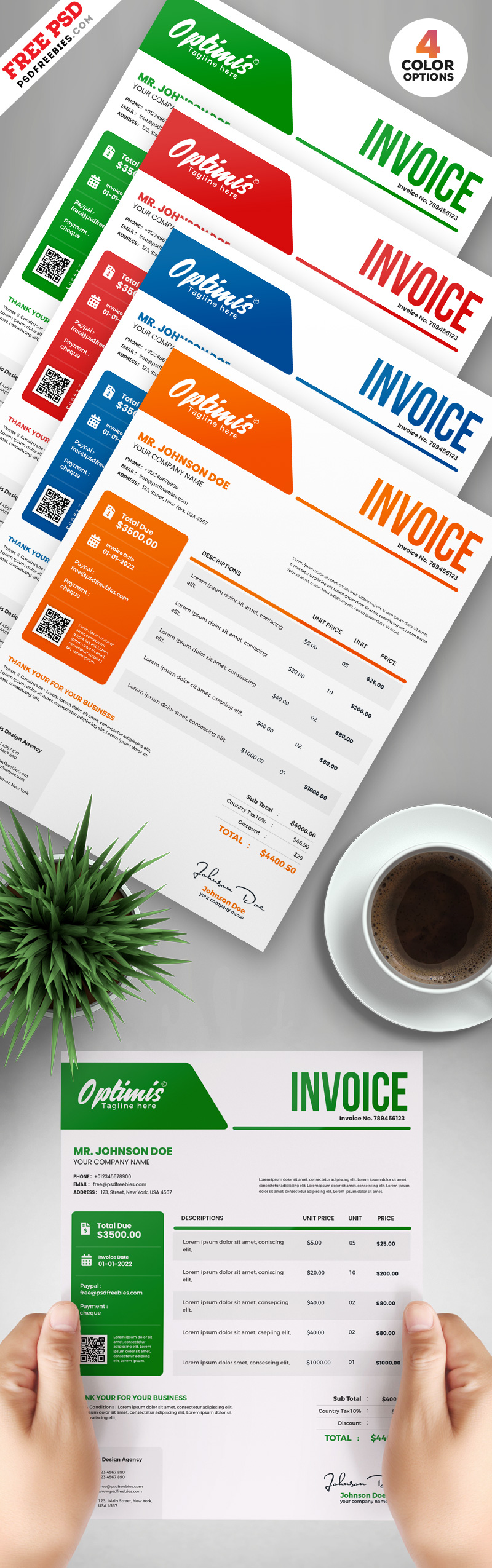 Professional A4 Invoice Design Template PSD